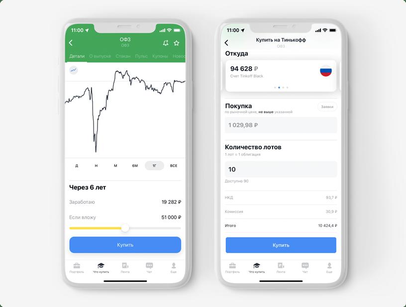Интерфейс покупки ценных бумаг в приложении Тинькофф Инвестиций